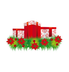 ornament christmas flowers with set collection box vector image
