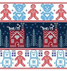 Scandinavian Nordic Christmas seamless pattern vector image vector image