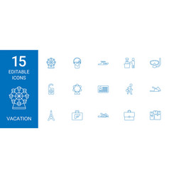 15 vacation icons vector