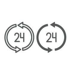 24 hours delivery line and glyph icon service and vector image