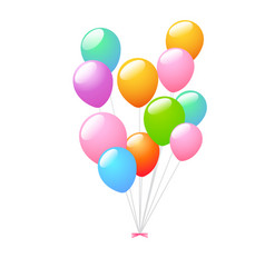 3d realistic colorful bunch of birthday balloons vector image