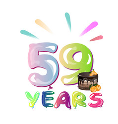 59th years anniversary card with cake vector image