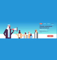 arab businessman talking megaphone arabic business vector image