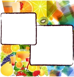 Background with fruits and cocktails vector image
