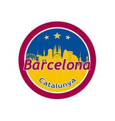 Barcelona city skyline silhouette in round icon vector