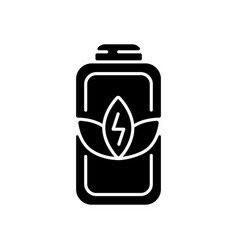 Battery charge saving black glyph icon vector