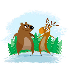 bear and elk vector image
