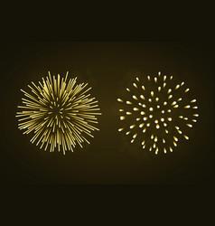 beautiful gold fireworks set bright fireworks vector image