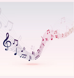 beautiful musical notes wave background design vector image
