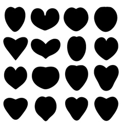 Black silhouettes of heart vector