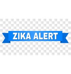 blue ribbon with zika alert text vector image