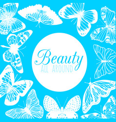 blue template with butterflies in hand-drawn style vector image