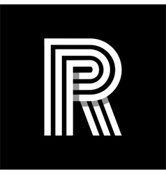 Capital letter R Made of three white stripes vector image