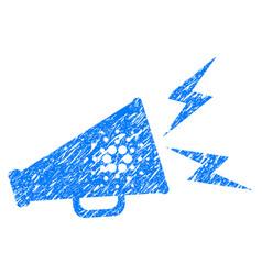 Cardano megaphone alert icon grunge watermark vector
