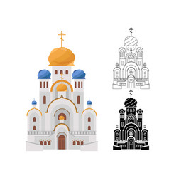 Cartoon luxury church with gold and blue domes vector