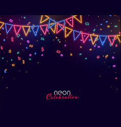 celebration background with neon style garland vector image
