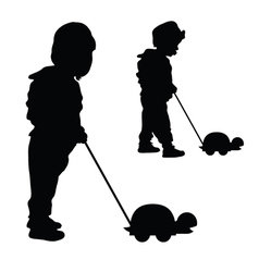 Child with turtle silhouette vector