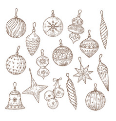 christmas balls sketch set xmas tree decorations vector image