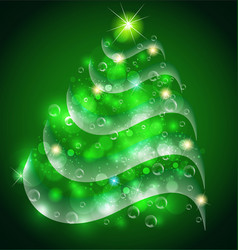 christmas tree abstract swirly background vector image