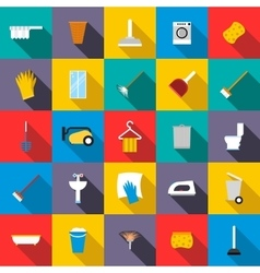 Cleaning icons set flat style vector
