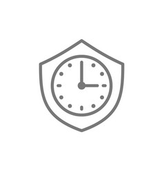 Clock with shield security time line icon vector