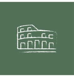 Coliseum icon drawn in chalk vector