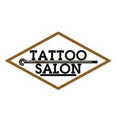 Color vintage tattoo salon emblem vector