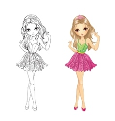 Coloring Book Of Girl With Tiara vector image