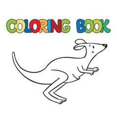 Coloring book of little funny kangaroo vector