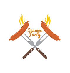 cooked hot fried sausage vector image