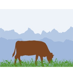 Cow in the alpine meadow vector