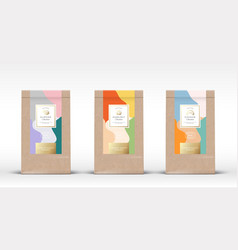 craft paper bag with nuts chocolate labels set vector image
