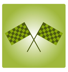 crossed black and white checkered flags logo vector image