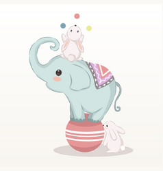 Cute baelephant and bunnies in circus vector