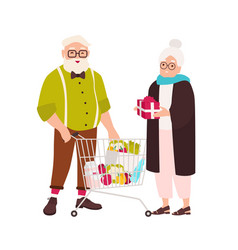cute elderly couple with shopping cart full of vector image