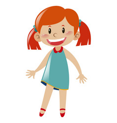 cute girl in blue dress standing vector image
