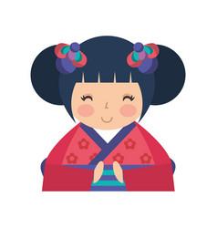 Cute japanese doll icon vector