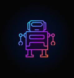 Cute robot colorful icon or logo in thin vector