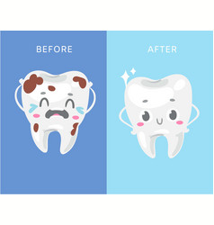 Dental concept unhealthy and healthy white vector