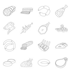 design of meat and ham icon collection of vector image