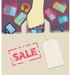 Digital devices falling into a paper shopping bag vector image