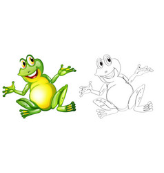Doodle animal character for frog vector