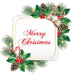elegant white square christmas greeting card vector image