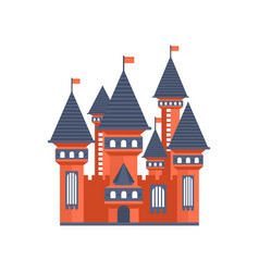 fairytale medieval castle with flags vector image