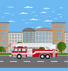 Fire truck on road in urban landscape vector