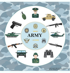 Flat army round concept vector