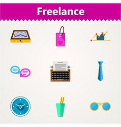 Flat icons for freelance and business vector