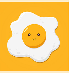 fried egg on yellow background top view vector image