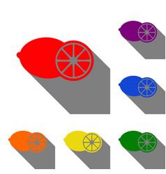 fruits lemon sign set red orange yellow vector image