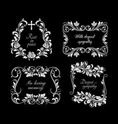funeral memorial frames with floral ornaments vector image